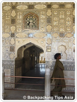 Mirror hall in Amber fort outside Jaipur in India
