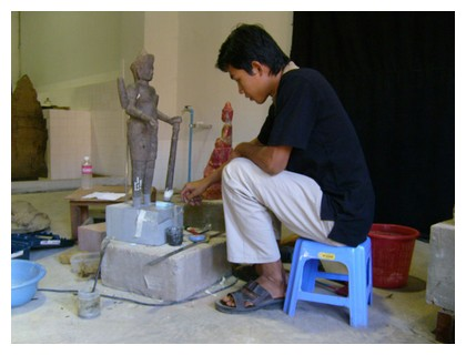 Restoration work at Angkor Museum in Siem Reap, Cambodia