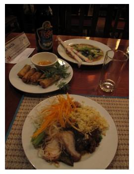Buffet food at Koulen 2 restaurant in Siem Reap Cambodia