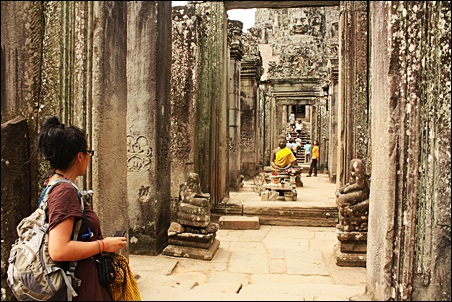 At Bayon site in Angkor Cambodia