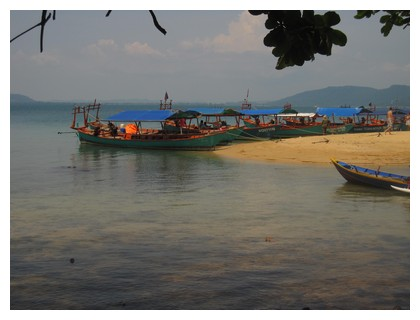 Boats on Bamboo island in Cambodia