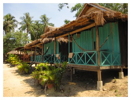 Bungalows on Bamboo island in Cambodia