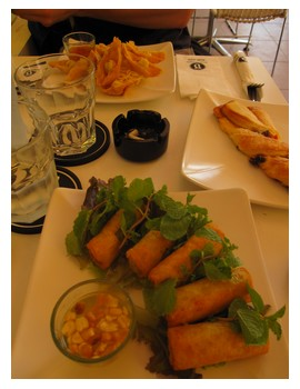 Food at Blue Pumpkin cafe in Siem Reap, Cambodia