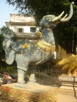 Blue sculpture in Vientiane in Laos