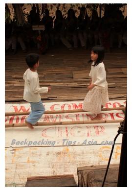 Children dancing tinikling in Bohol island