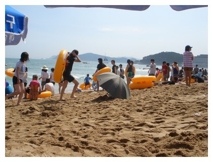 Crowded at Busan beach in Korea
