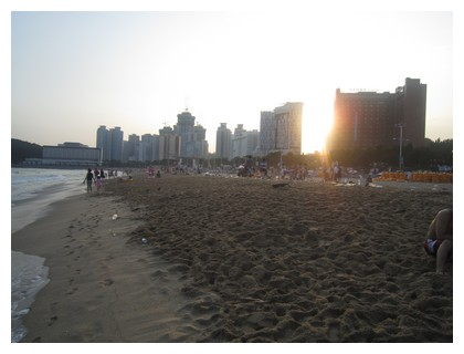 Busan beach at sunset