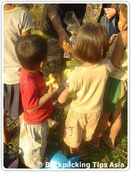 Children near Tad Lo waterfalls
