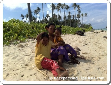 Local children in Sibuan island in Borneo