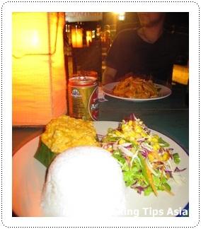 Having amok fish at Coasters' restaurant in Sihanoukville, Cambodia