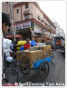 Crazy traffic street life in Delhi, the capital of India
