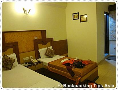 Room at Grand park inn hotel in Karol Bagh neighborhood in Delhi, India