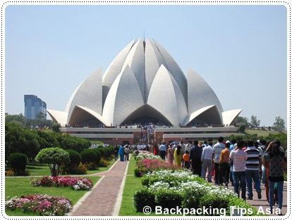 View of Lotus temple in Delhi in India