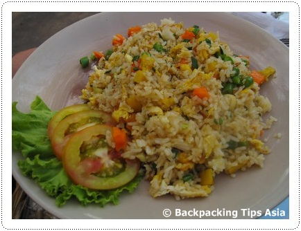 Rice dish at Escape cafe in Serendipity beach in Sihanoukville