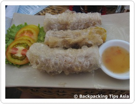 Delicious spring rolls at Escape in Sihanoukville, Cambodia