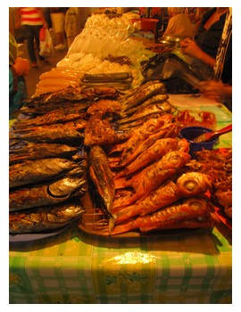 Grilled fish at Filipino market in KK