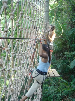 Holding on at Tree Top Adventure in Koh Chang, Thailand
