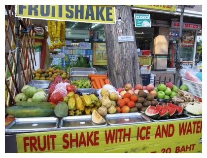 A fruit stand in Soi Rambuttri in Bangkok, Thailand