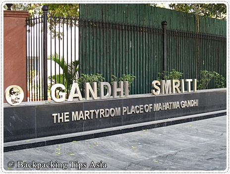 Outside gandhi smriti museum in New Delhi, India
