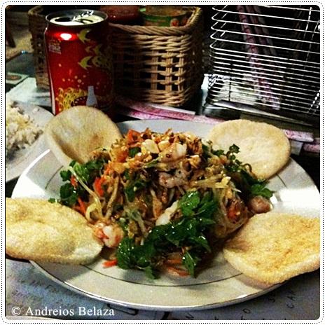Papaya mango salad at Cafe 43 in Hoi An, Vietnam