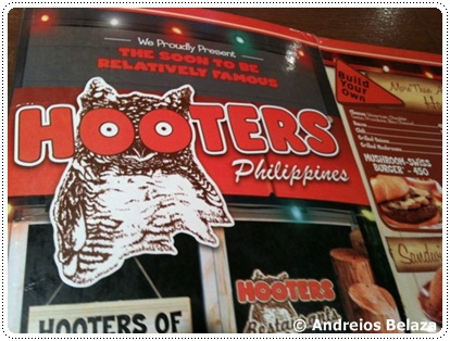 Menu at Hooters restaurant in Manila, Philippines