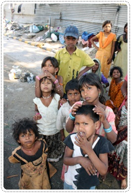 Kids suffering from poverty in India