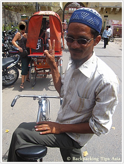 A local bicycle driver in Pink City in Jaipur, Rajasthan state, north India