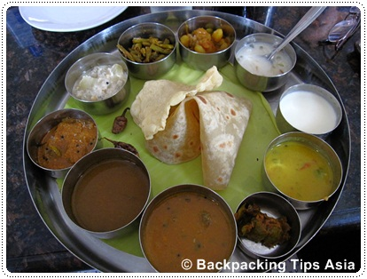 A thali meal in Trivandrum, India