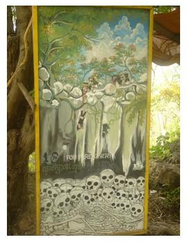 A sign at the Killing Caves in Battambang