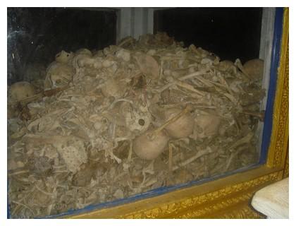 Skulls of the victims at Killing Caves, Phnom Sampeau in Battambang