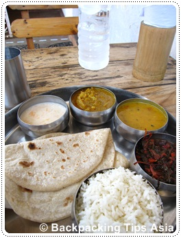 Thali meal in Fort Kochi, India