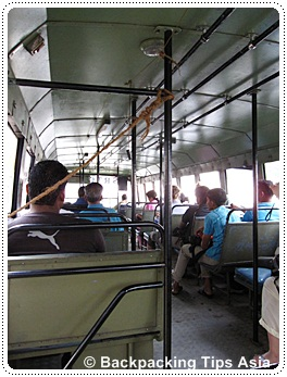 Taking the local bus to Kovalam beach from Trivandrum