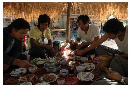 Eating together in Laos