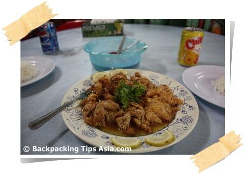 Fried chicken in lemon sauce in Kuala Lumpur