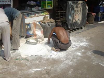 A local man baking in Mumbai