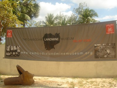 By the entrance to the Landmine Museum near Siem Reap