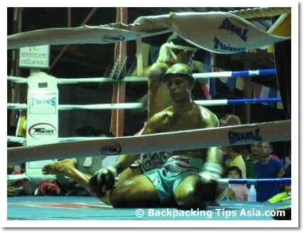 Foreign fighter at a muay thai fight in Koh Phangan