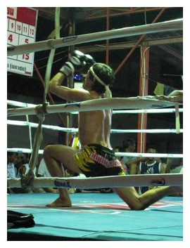 One of the boxers at a muay thai fight in Koh Pha Ngan, Thailand