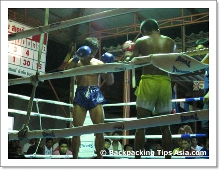 Two Thais ready to fight in a muay thai game in Koh Pha Ngan, Thailand