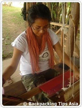 Me weaving at Ock Pop Tok in Luang Prabang