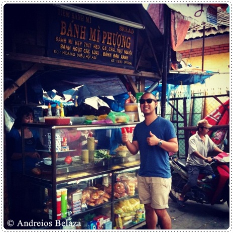 Outside Banh Mi Phuong stall in Hoi An