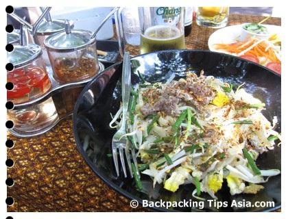 Pad thai at a restaurant in Soi Rambuttri in Bangkok, Thailand