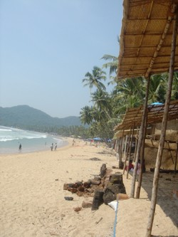 Beautiful Palolem beach in South Goa during the day