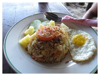 Pineapple fried rice dish at Palm Tree cafe on Perhentian Kecil
