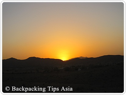 Sunset in the desert of Pushkar, India