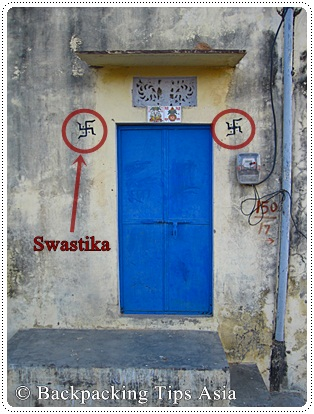 Swatika on door in Pushkar, north India