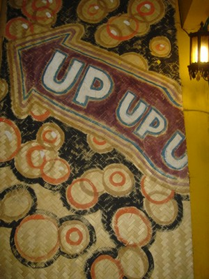 Up-up sign to THC Roof top bar in Chang Mai Thailand
