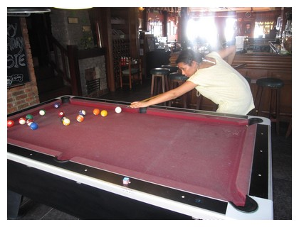 Playing pool at Shamrock in Kota Kinabalu