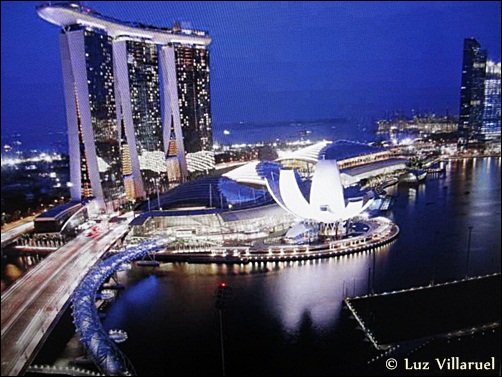 Marine Bay Sands Resort in Singapore, at night