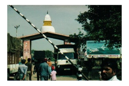 At Sonauli border crossing between India and Nepal